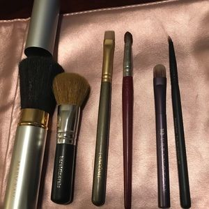 Assorted name brand brushes with soft Sephora case